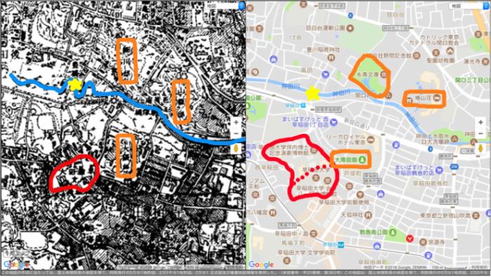 早稲田今昔地図印付き